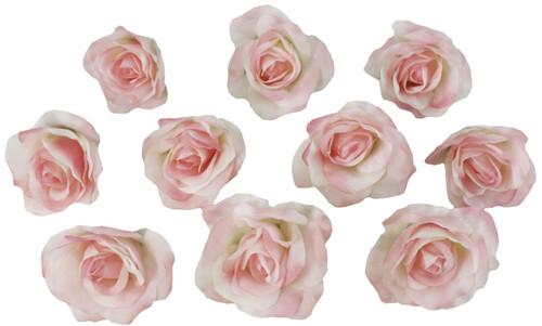 10 Pink Rose Heads Silk Flower Wedding/Reception Table Decorations Bulk Silk Flowers