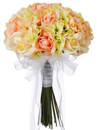 Hydrangea Rose Yellow and Peach Hand Tie Medium - Silk Bridal Wedding Bouquet