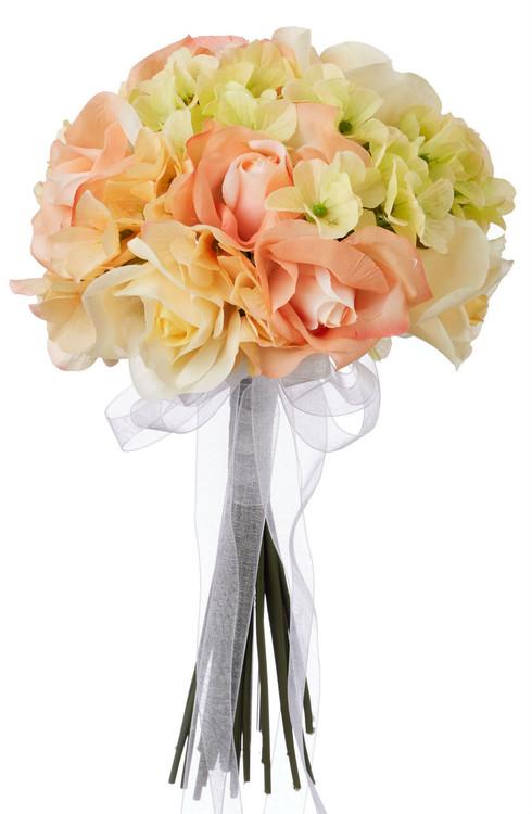 Hydrangea Rose Yellow and Peach Hand Tie Small - Silk Bridal Wedding Bouquet