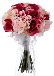 Hydrangea Rose Pink and Fuchsia Hand Tie Medium - Silk Bridal Wedding Bouquet