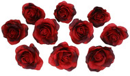 10 Red Rose Heads Silk Flower Wedding/Reception Table Decorations Bulk Silk Flowers