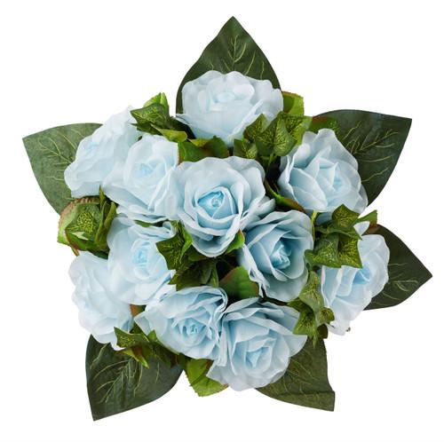 Light Blue Silk Rose Nosegay - Silk Bridal Wedding Bouquet
