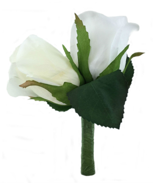 Ivory and White Silk Rose Double Boutonniere - Groom Boutonniere Prom