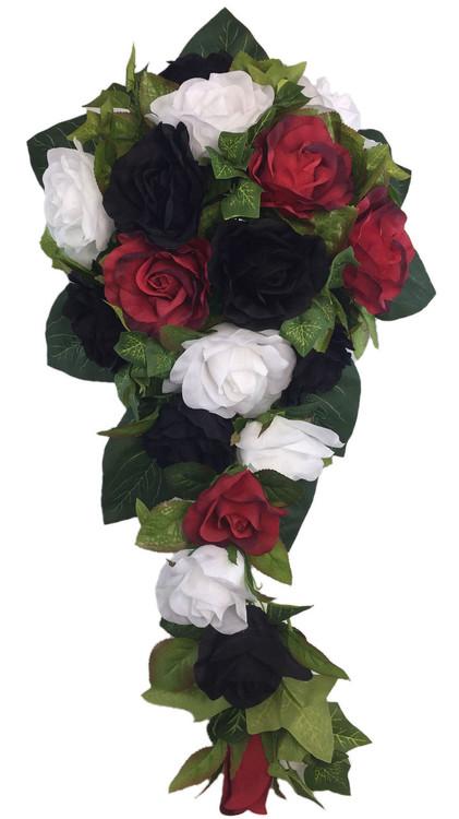 Red, White and Black Silk Rose Cascade - Artificial Silk Bridal Wedding Bouquet