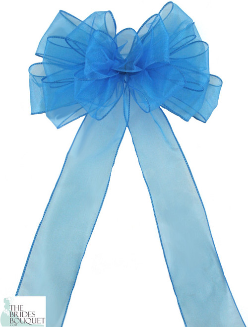 Pew Bows Turquoise Sheer - Set of 4 Turquoise Bows - Reception Decoration