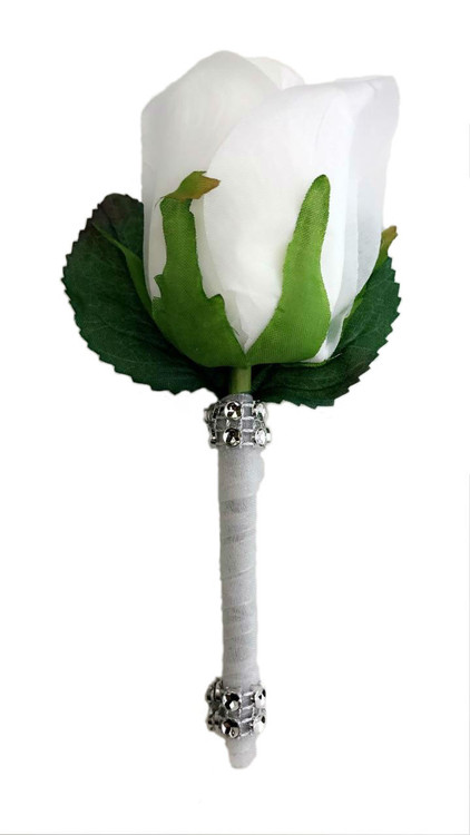 White Silk Rose PREMIUM Boutonniere - Groom Boutonniere Prom