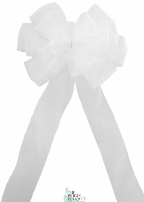 Pew Bows White Sheer - Set of 4 White Bows - Reception Decoration