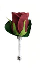 Burgundy Silk Rose PREMIUM Boutonniere - Groom Boutonniere Prom