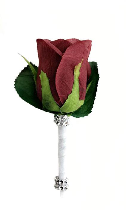 Burgundy Silk Rose Premium Boutonniere Groom Boutonniere