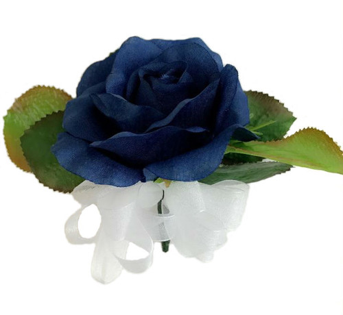 Navy Blue Open Silk Rose Corsage - Wedding Corsage Prom