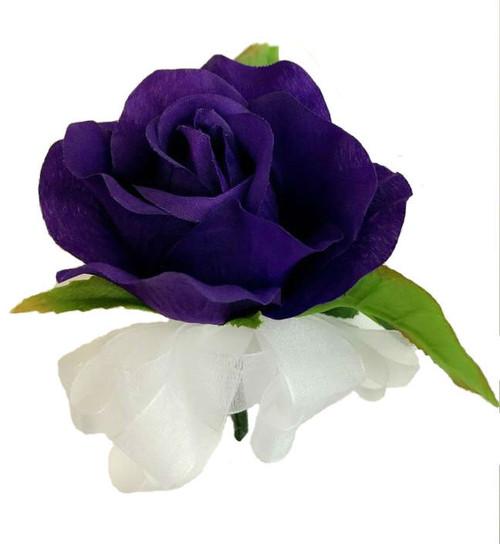 Purple Open Silk Rose Corsage - Wedding Corsage Prom
