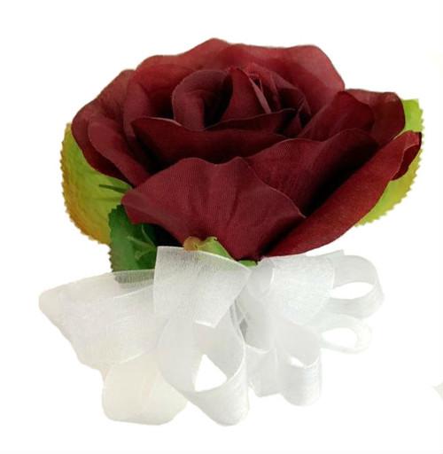 Burgundy Open Silk Rose Corsage - Wedding Corsage Prom