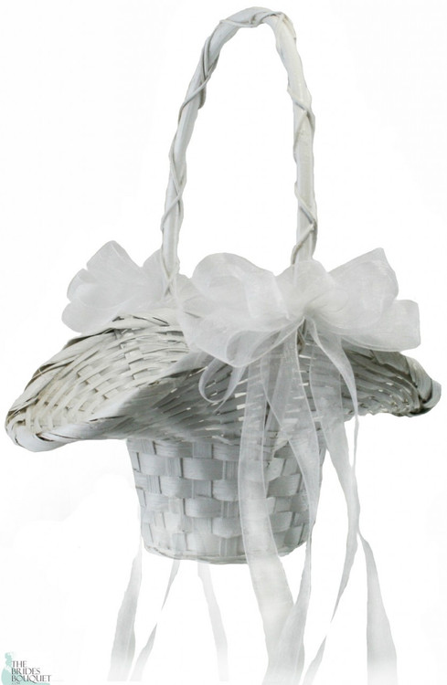 Flower girl basket with bows wedding basket with bows mightylinksfo