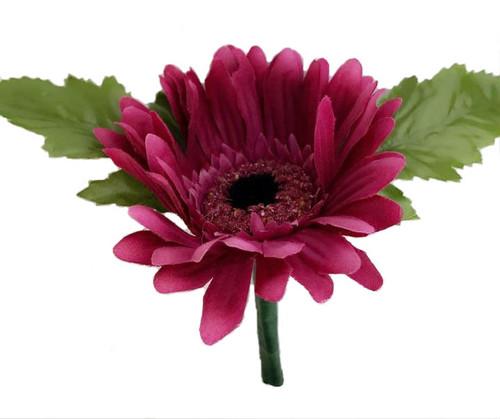 Mulberry Purple Silk Daisy Boutonniere - Groom Boutonniere Prom