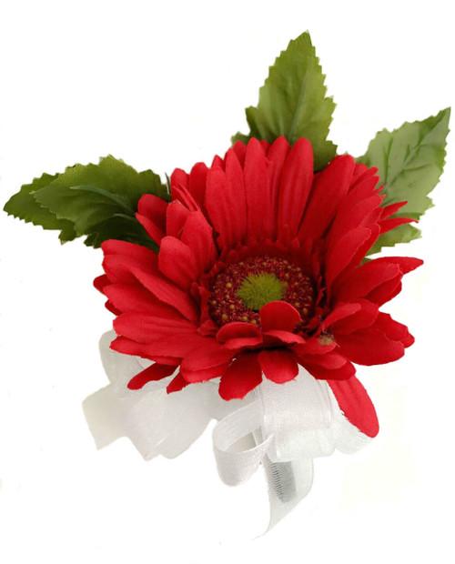 Red Silk Daisy Corsage - Wedding Corsage Prom