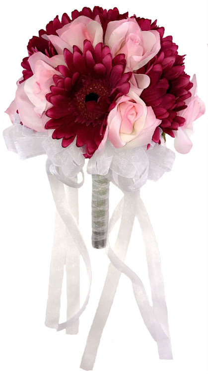 Pink Rose and Mulberry Daisy - Silk Bridal Wedding Bouquet