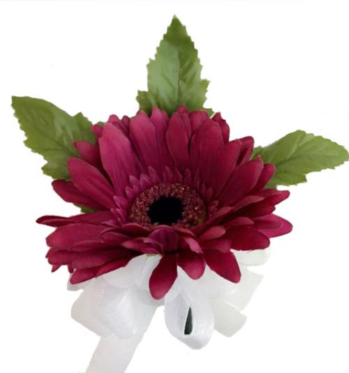 Mulberry Purple Silk Daisy Corsage - Wedding Corsage Prom