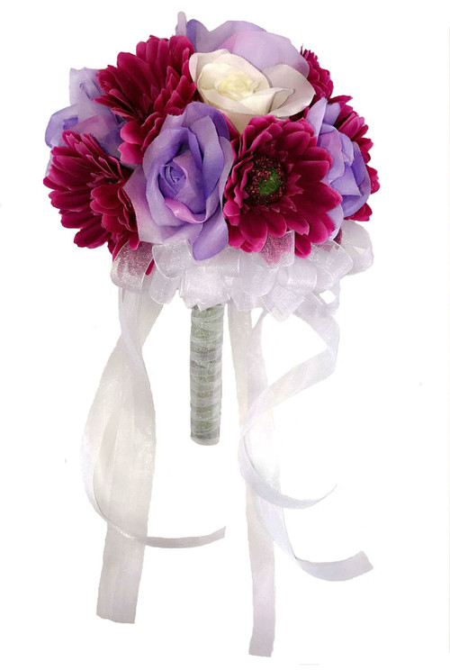 Lavender, Ivory Rose and Mulberry Daisy - Silk Bridal Wedding Bouquet