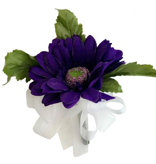 Purple Silk Daisy Corsage - Wedding Corsage Prom