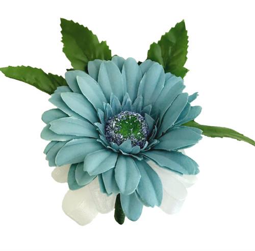 Aqua Blue Silk Daisy Corsage - Wedding Corsage Prom