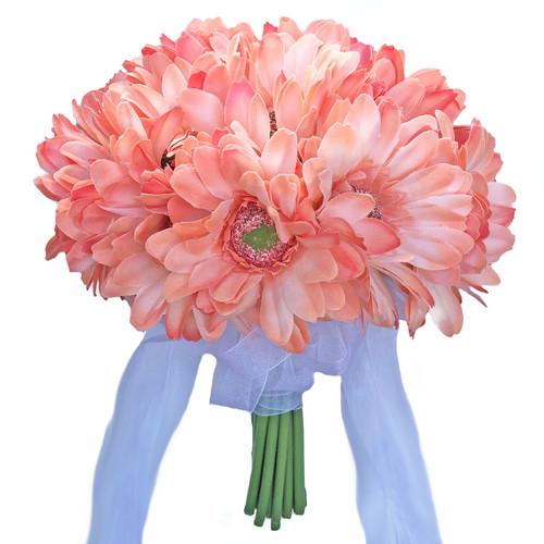 Peach Gerbera Daisy Wedding Bouquet - Silk Flower Bridal Bouquet- 18 ...