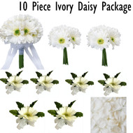 10 piece ivory silk flower package: 1 bridal bouquet, 2 bridesmaids bouquets, 4 boutonnieres, 2 corsages and 1 bag of rose petals
