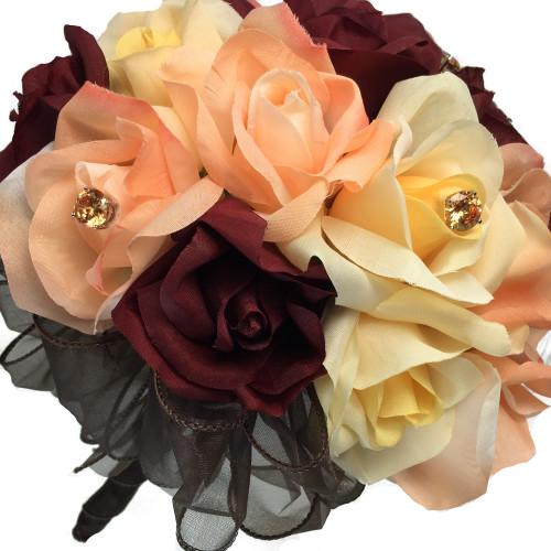Autumn Rose Bridal Bouquet - Silk Wedding Flowers- 24 stem