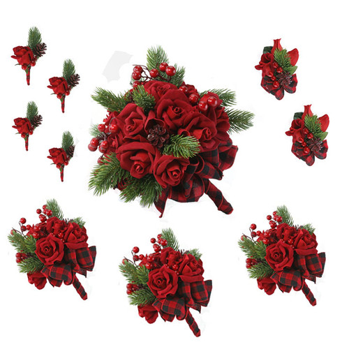10 piece christmas velvet red bridal package- includes 1 bridal bouquet, 3 bridesmaids bouquets, 4 boutonnieres and 2 corsages