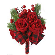 12 Red Velvet Christmas Roses with pine greens, berries and buffalo plaid ribbons, winter bridal flower bouquet