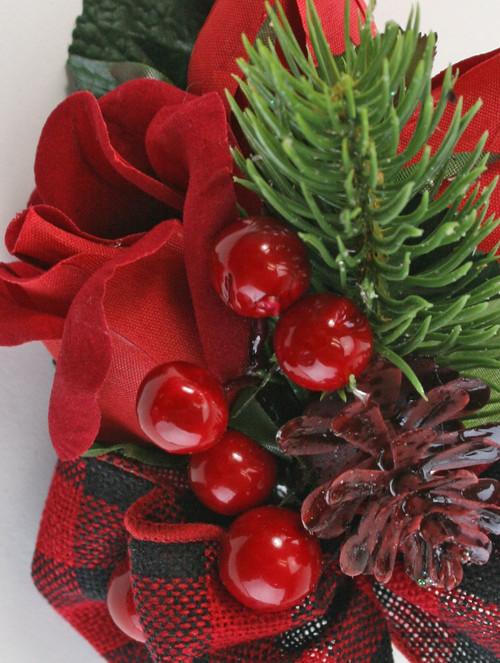Red Velvet Rose - Christmas Formal- Silk Wedding Flower Corsage- Buffalo Plaid Bow