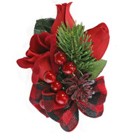 Red Velvet Formal Christmas Corsage with buffalo check bow and berries