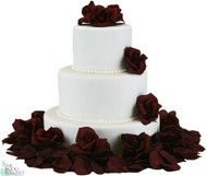Burgundy Silk Rose Cake Flowers