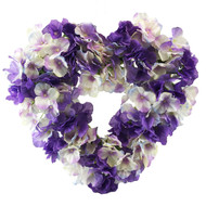 Purple Lavender Hydrangea Silk Wedding Flower Heart Wreath