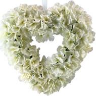 Ivory Hydrangea Silk Wedding Flower Heart Wreath