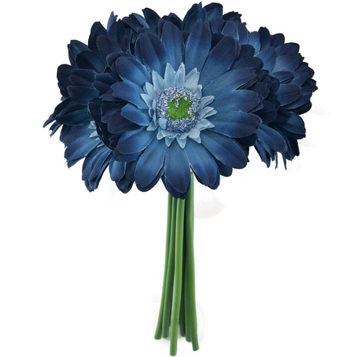 Blue Daisy Wedding Bouquet - Silk Bridal Flowers- 9 stem ...