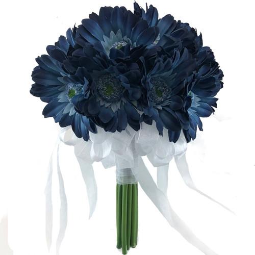 Blue Daisy Bridal Bouquet- Silk Wedding Flowers - 18 stem