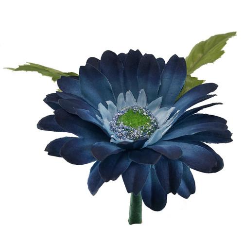 Blue Daisy boutonniere- Mens Silk Bridal Wedding Flowers - Groom Prom