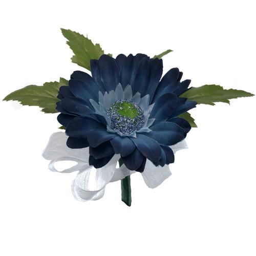 Blue Daisy Corsage - ladies Silk Bridal WEdding Flowers - Prom