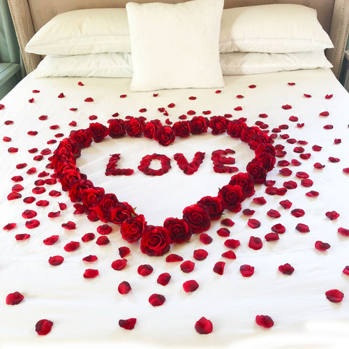 Red Roses + Petals = Love ~Couples Romance Decoration Package - Perfect for Honeymoons Valentines Anniversary Wedding and Weekend Getaway
