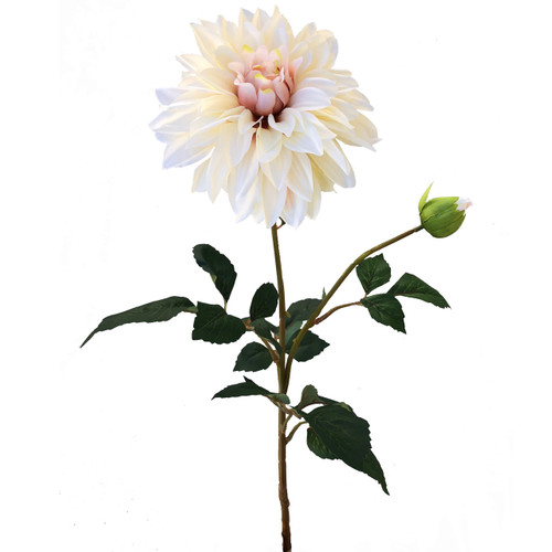 Blush Bridal Pink dinner plate Dahlia Silk Wedding Flower Stem 20 inch long stem and 6 inch wide bloom with additional bud and leaves