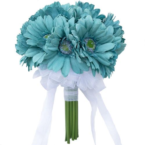 Aqua blue Daisy Bouquet large -18 stem bouquet