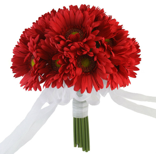 Red Daisy Bouquet - Bridal Wedding Flowers- large 18 stem