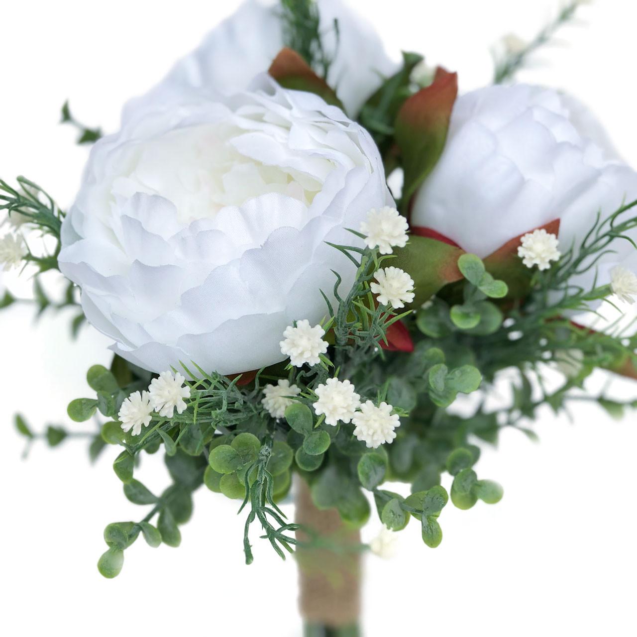 Peony Eucalyptus Silk Flower Bridal Bouquet Wedding Decor