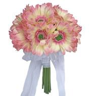 Blush Pink Ivory Daisy Bouquet - Bridal Wedding Bouquet- 18 stem
