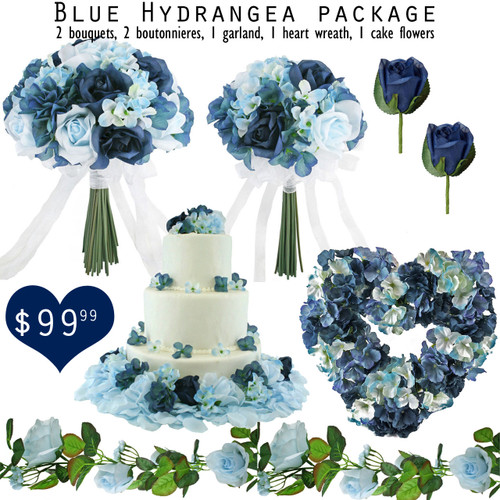 7 piece package of Blue Hydrangea and Blue Roses