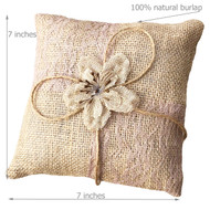 Cute little burlap pillow for your ringbearer to easily carry down the aisle. Perfect size for tiny hands measuring 7 inches across.