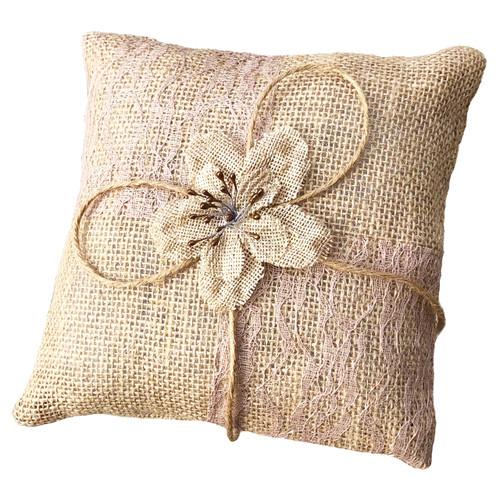 Cute little burlap pillow for your ringbearer to easily carry down the aisle. Perfect size for tiny hands measuring 7 inches across. Makes a great wedding keepsake.