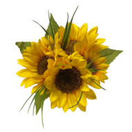 Petite bouquet of 5 gorgeous sunflowers! Measures about 8 inches across. Perfect for Bridesmaids! Handle is wrapped with satin ribbons and long streamers of ribbon cascade down.