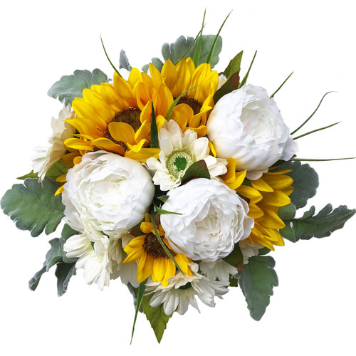 Large bouquet of Sunflowers, Peonies, Daisies and Super-soft Dusty Miller. Measures 12 inches in diameter. Silky Satin ribbons wrap the handle of the bouquet and ribbon streamers cascade down.