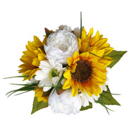 Small bouquet of Sunflowers, Peonies, & Daisies. Measures 9 inches in diameter. Silky Satin ribbons wrap the handle of the bouquet and ribbon streamers cascade down.